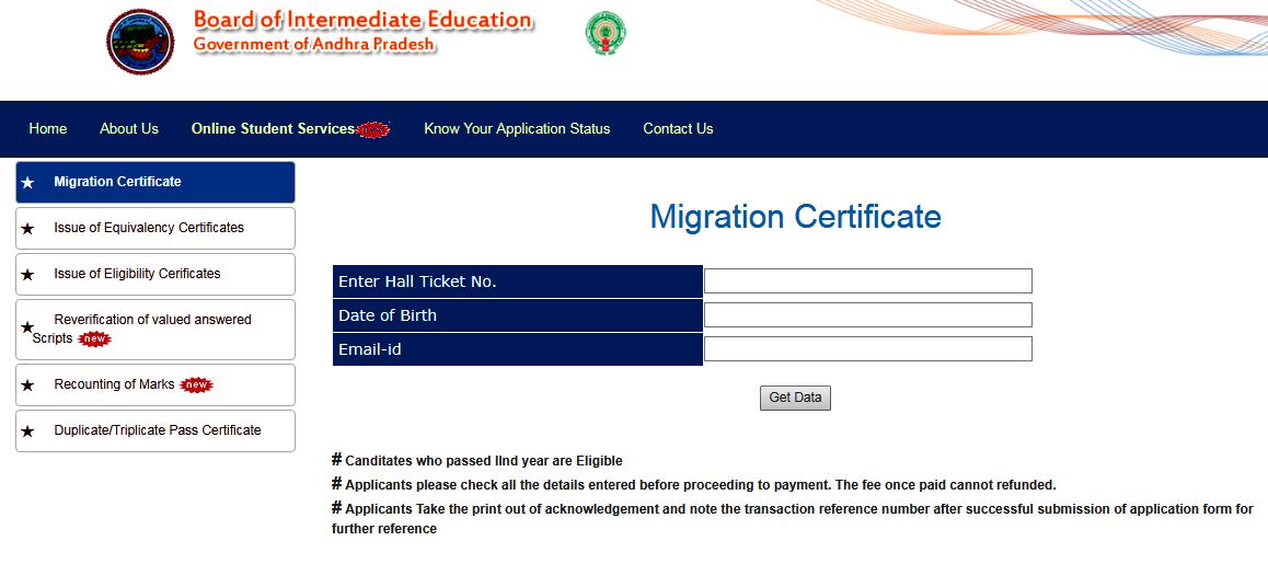 apbie.apcfss.in AP Inter Migration Certificate 2019 Download