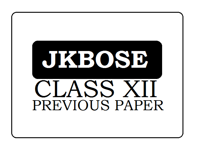 JKBOSE 12th Previous Paper 2020