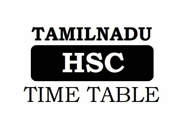 TN HSC Time Table 2020