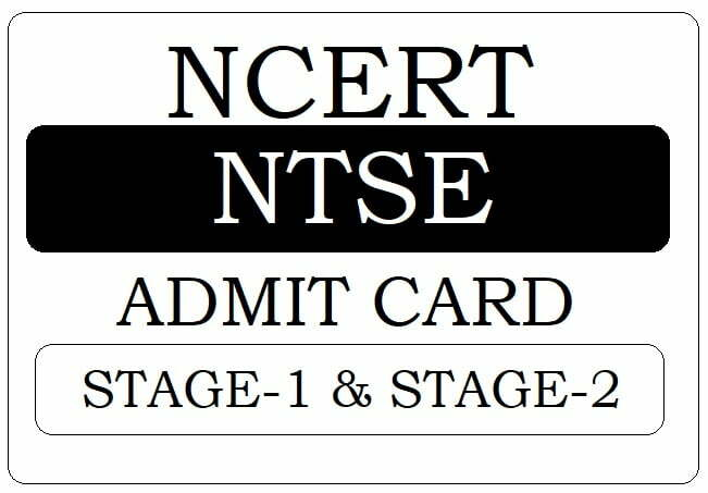 NTSE Admit Card 2019-2020