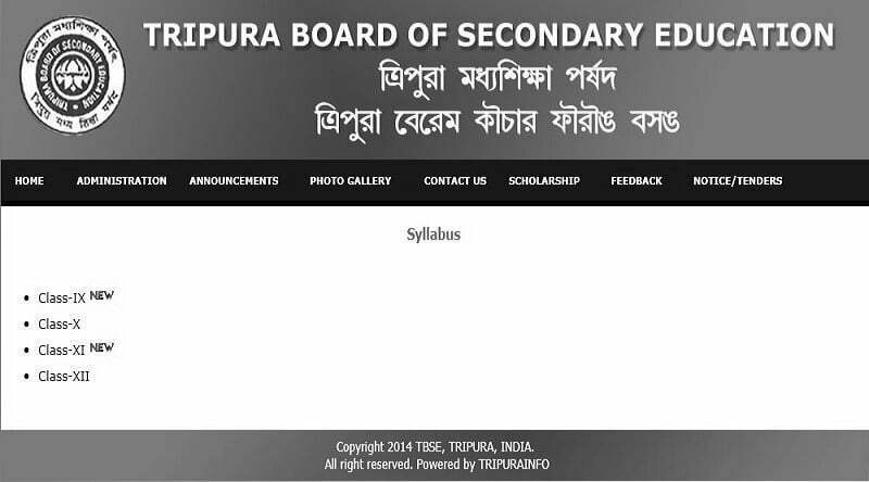 Tripura Board HS New Syllabus 2020