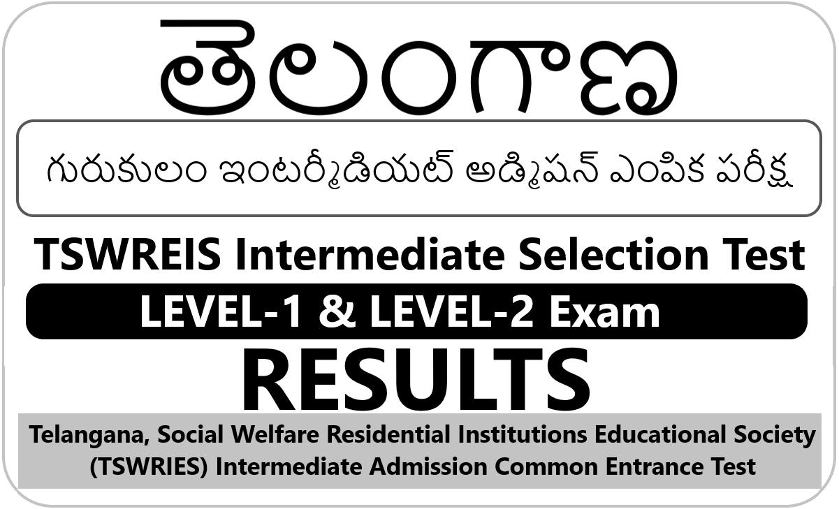 TS Gurukulam Inter Admission Test Result 2021, TSWREIS Inter Selection Test Result 2021