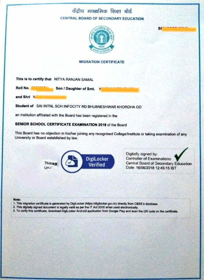 CBSE 12th Migration Certificate 2020 Digital Format