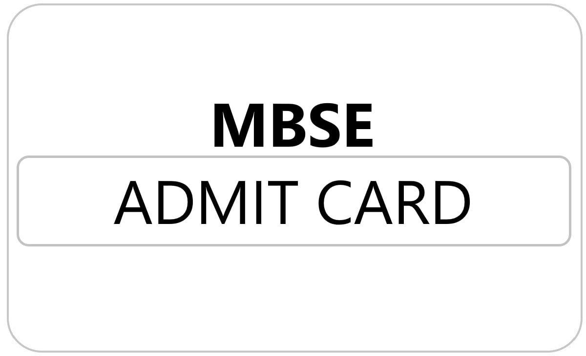 MBSE HSSLC Admit Card 2021
