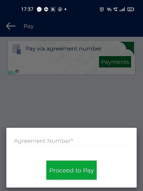 TVS Credit Card Payment Via Agreement Number