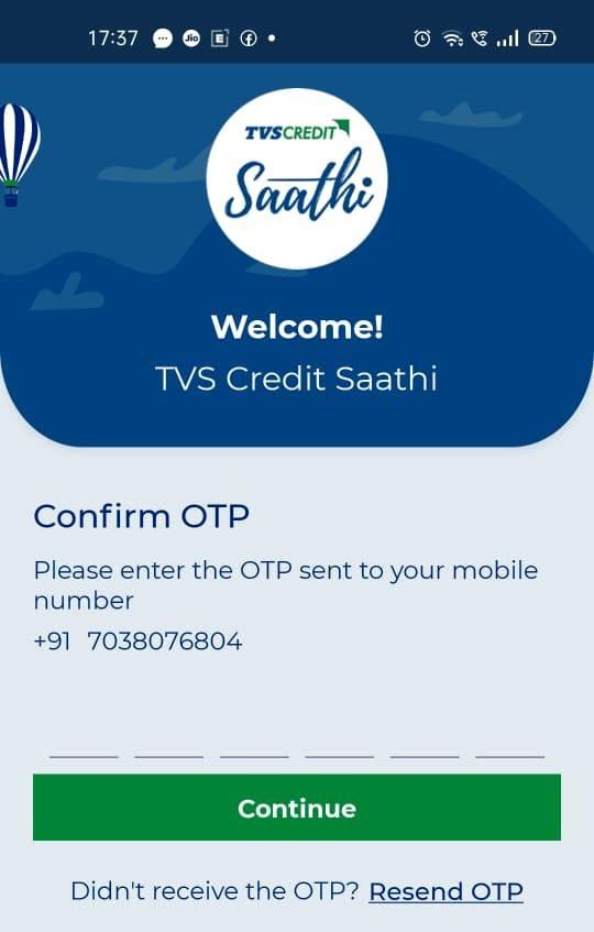 TVS Credit Saathi App OTP Confirmation